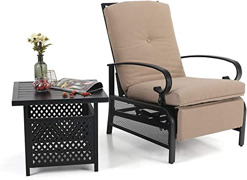 PHI VILLA Adjustable Relaxing Recliner Lounge Chair and Umbrella Bistro Table Set fits Outdoor,Patio,Garden,Porch,Living Room