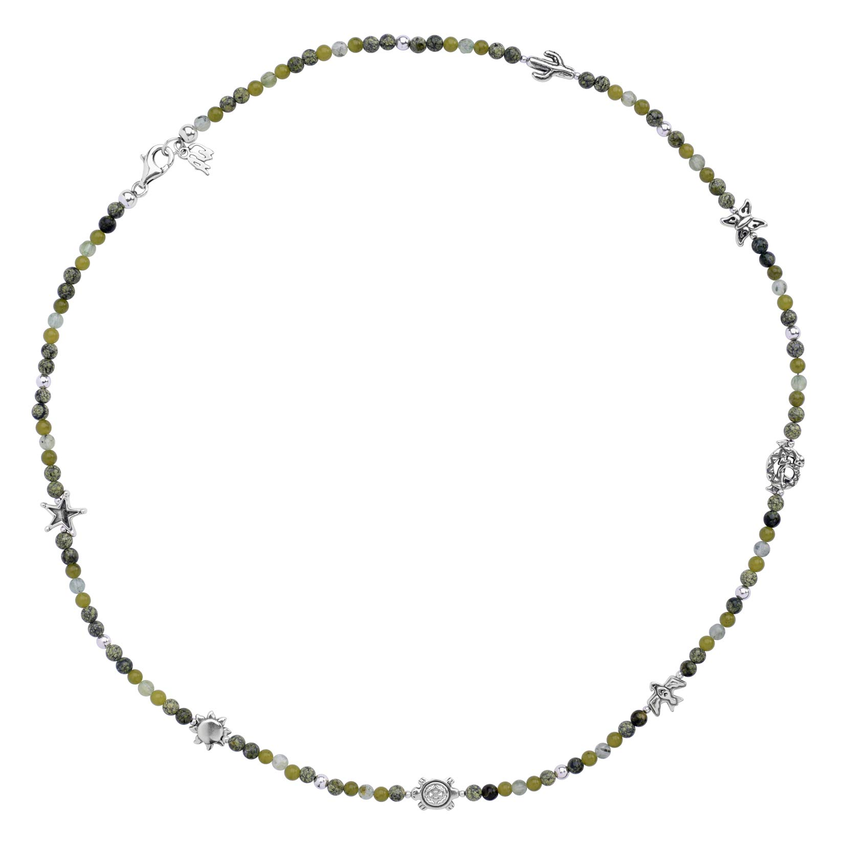 Sterling Silver 24'' Green Gemstone Beaded 7 Charm Necklace by American West (Image #4)