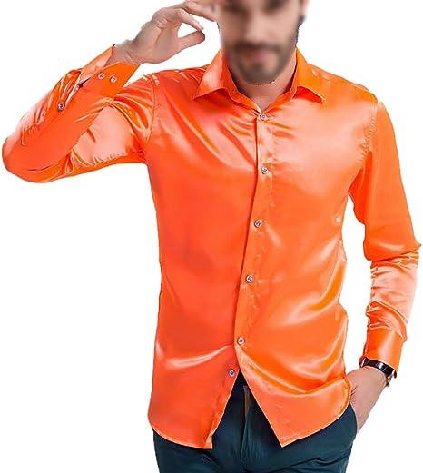 TOOGOO (R - Camisa de Manga Larga para Hombre, satén, Color Naranja Brillante 4XL: Amazon.es: Deportes y aire libre