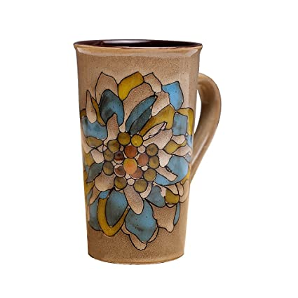 201dae692c3 Verdental Vintage Flower Hand-Painted Ceramic Large Milk Tea Coffee Cup Mug  Gift(Flower 1, Yellow)