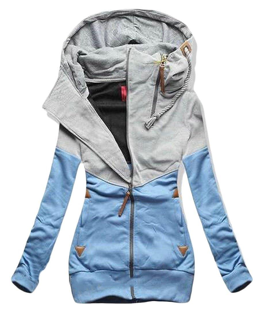 Joe Wenko JWK Womens Running Contrast Color Full Zip Fleece Hoodie Active Sweatshirt