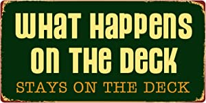 "StickerPirate 1098HS What Happens On The Deck Stays On The Deck 5""x10"" Aluminum Hanging Novelty Sign"