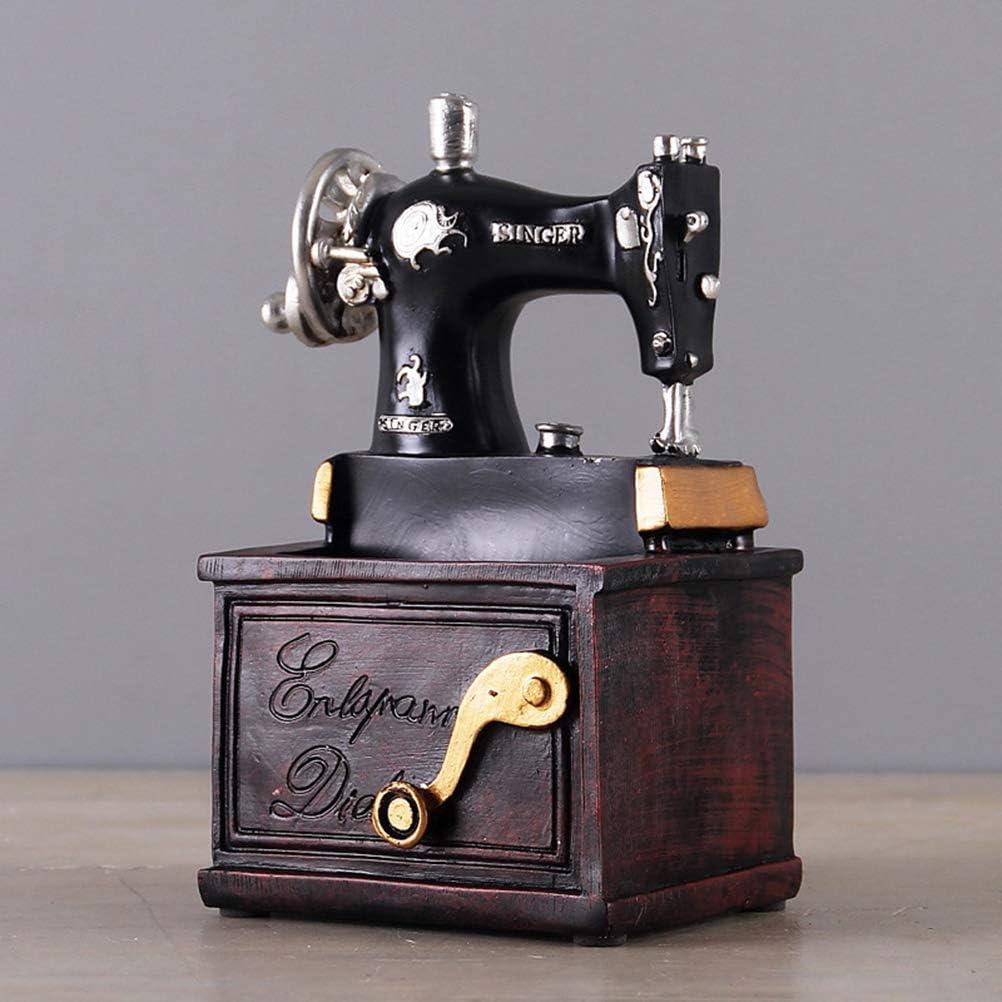Vosarea - Mini máquina de coser de resina vintage, tablero de mesa ...