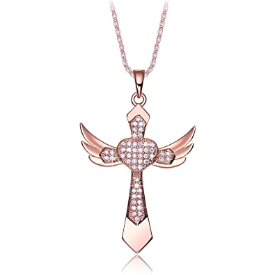 Valentines Day Gifts For Women NEEMODA Cross Necklace For Girls Cubic  Zirconia Angel Wings Fashion Jewelry