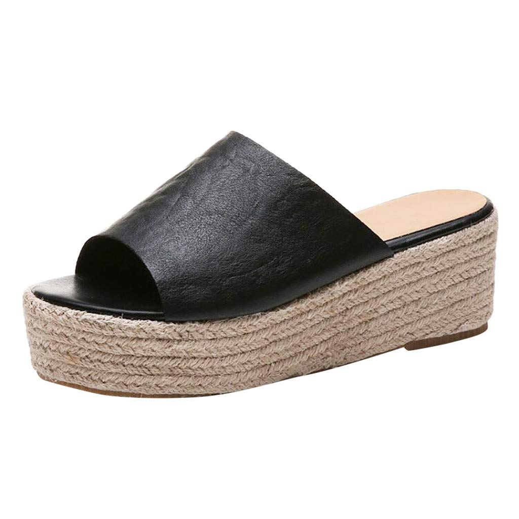 Shusuen Flat Casual Heels Pumps Peep Toe Sandals Black by Shusuen_shoes