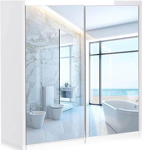 Tangkula - Armario de Pared con Espejo para baño, con Doble Puerta, Color Blanco: Amazon.es: Hogar