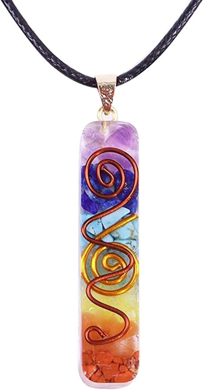 Xianglsp Co.,ltd 7 Chakra Collar Colgante Cristales de Curación Energética Chips Piedras Caídas Collar de Resina Mixta