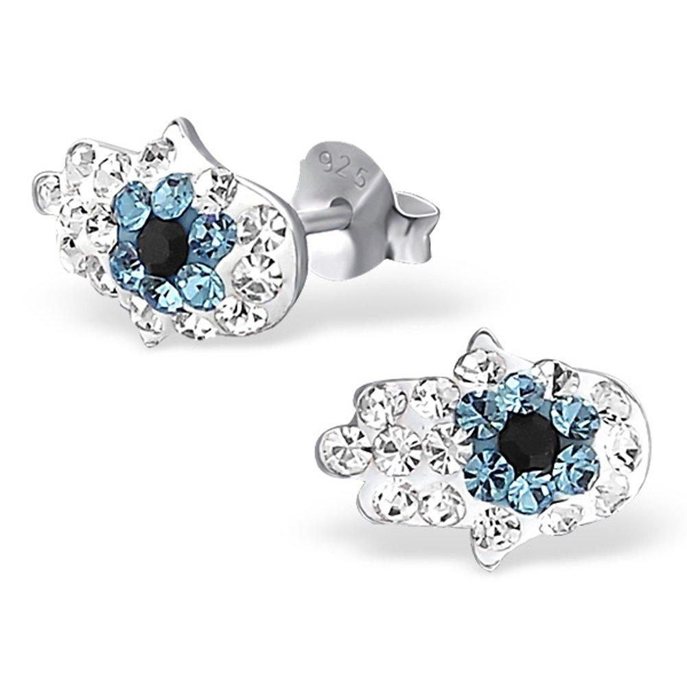 Small Hamsa Evil Eye Crystal Earrings 925 Sterling Silver Posts Studs (E17868)