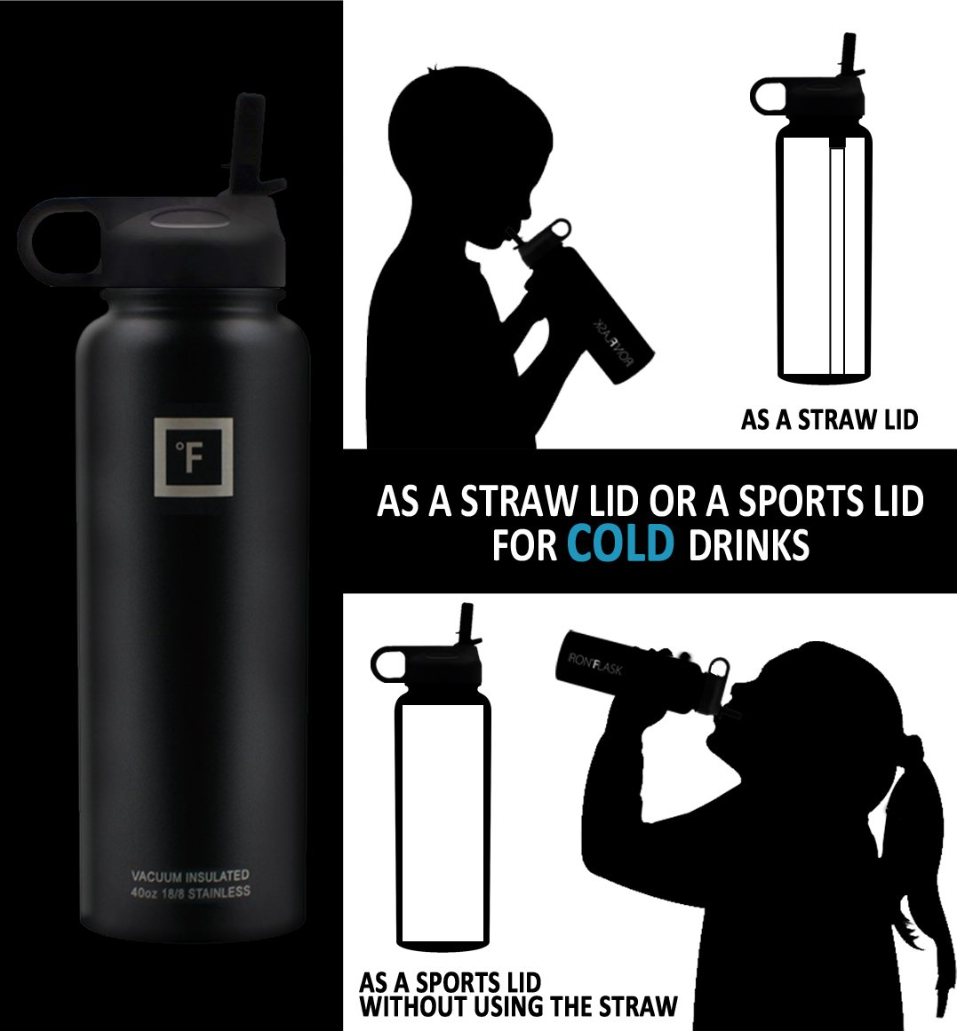 Iron Flask - 40 oz, 3 Lids, Vacuum Insulated Stainless Steel Water Bottle, Hot & Cold, Wide Mouth, Nalgene, Double Walled, Simple Flow Thermo Modern Travel Mug, Hydro Canteen Powder Coated, Black by Iron Flask (Image #3)