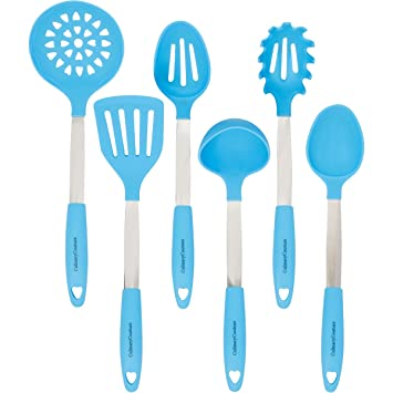 Light Blue Cooking Utensils Set Stainless Steel Silicone Heat Resistant Professional Cooking Tools Spatula Mixing Slotted Spoon Ladle