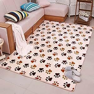 Ustide Dog Foot Print Kitchen Rug Set Cute Memory Foam Rug Soft Coral Fleece Carpet