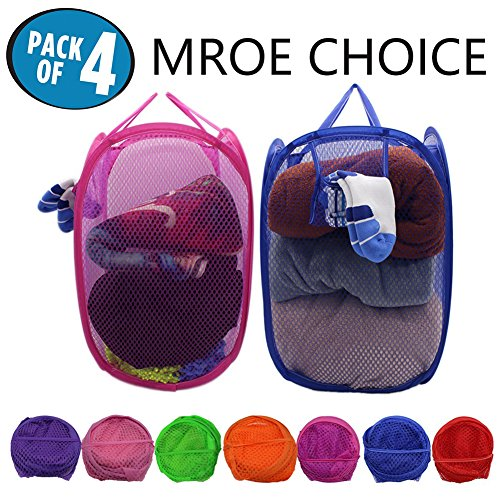 Mesh Pop-Up Set of 4 Laundry Hamper with Side Pocket and Handles -Clothes Hamper Perfect for Kids (4Packs)