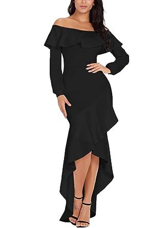 cb9ada7aed560 Lovezesent Women Off Shoulder Lantern Sleeve Ruffle Hem Mermaid Evening  Party Dress