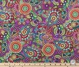 Purple Boho Hippie Floral Valance Cotton Window Curtain Treatment 43''W x 15''L