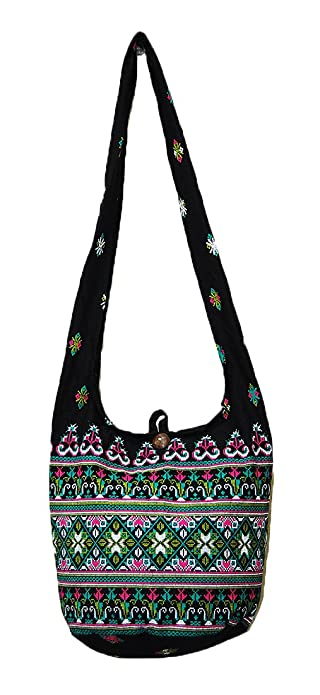 1b161e46b60 Image Unavailable. Image not available for. Color  Thai Hippie Hobo Sling  Crossbody Shoulder Bag Purse Handmade Zip Black Ethnic Cotton Boho Gypsy  Medium
