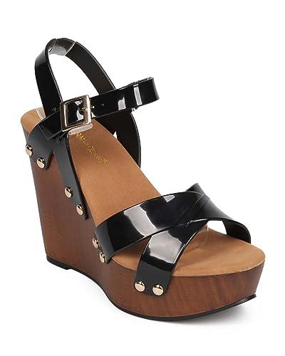 f95c717ee9 Women Jelly Peep Toe Studded Criss Cross Clog Wedge Sandal EB06 - Black  (Size: