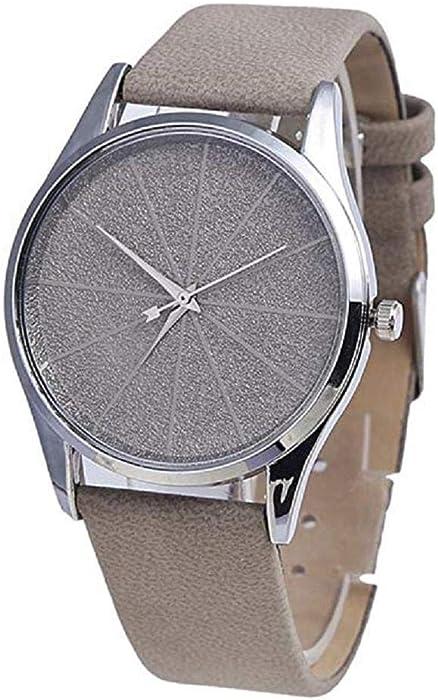 Los Relojes para Mujer del Cuarzo, Forman el Reloj Redondo Retro de la aleación del Cuarzo del dial del Metal Minimalista de la Moda con la Banda de Cuero