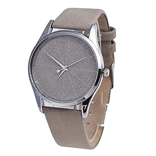 Los Relojes para Mujer del Cuarzo, Forman el Reloj Redondo Retro de la aleación del Cuarzo del dial del Metal Minimalista de la Moda con la Banda de Cuero ...