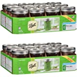 Ball Wide Mouth Pint 16 Oz. Glass Mason Jars with Lids and Bands, 12Count/Box - 2 Box