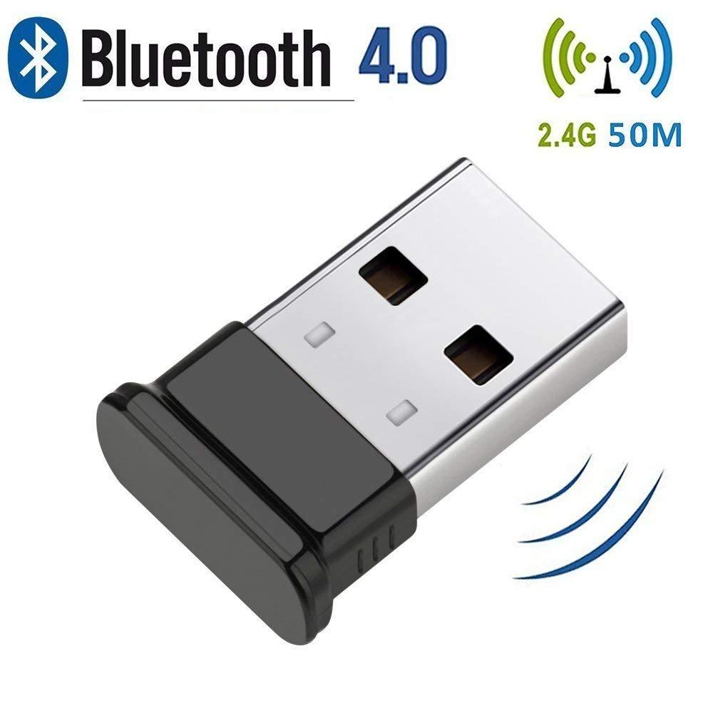 Adattatore per dongle USB Bluetooth 4.0, trasmettitore Bluetooth, adattatore bluetooth per PC, ricevitore wireless Plug and Play, per tastiera,mouse, auricolare, supporto Tutti Windows 10/8/7/XP/Vista HANPURE Bluetooth 4.0 USB Adapter