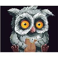 ECMQS DIY Peinture par Chiffres pour Adultes Enfants – Hibou 40 x 50 cm Toile Toile – Peinture à l'huile – Cadeau de Noël (sans Cadre)