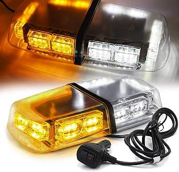9 inch LED Red White Light Emergency Warn Strobe Flash Bar Hazard Security