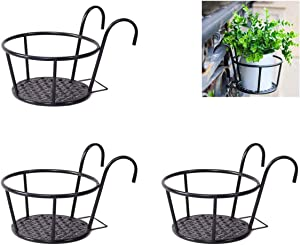 NHZ Pot Holder Hanger 3 Pack, Iron Art Hanging Baskets Flower - Great for Patio Balcony Porch or Fence Planters Assemble (Black)