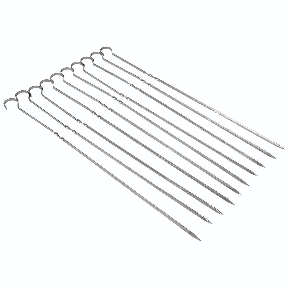 Delaman Kebab Skewers Stainless Steel BBQ Grilling Stick Skewers, Metal Barbecue Forks with Ring-Tip Handle 10pcs 40cm/15.7inch