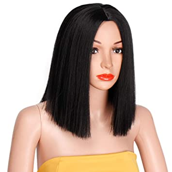 AISI HAIR Short Straight Hair Bob Wig Synthetic Black Middle Part Wig Bob  Wigs for Women 54c7dd9f2e