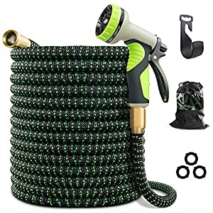 VIENECI 100ft Garden Hose Expandable Hose, Durable Flexible Water Hose, 9 Function Spray Hose Nozzle, 3/4″ Solid Brass Connectors, Extra Strength Fabric, Lightweight Expanding Hose
