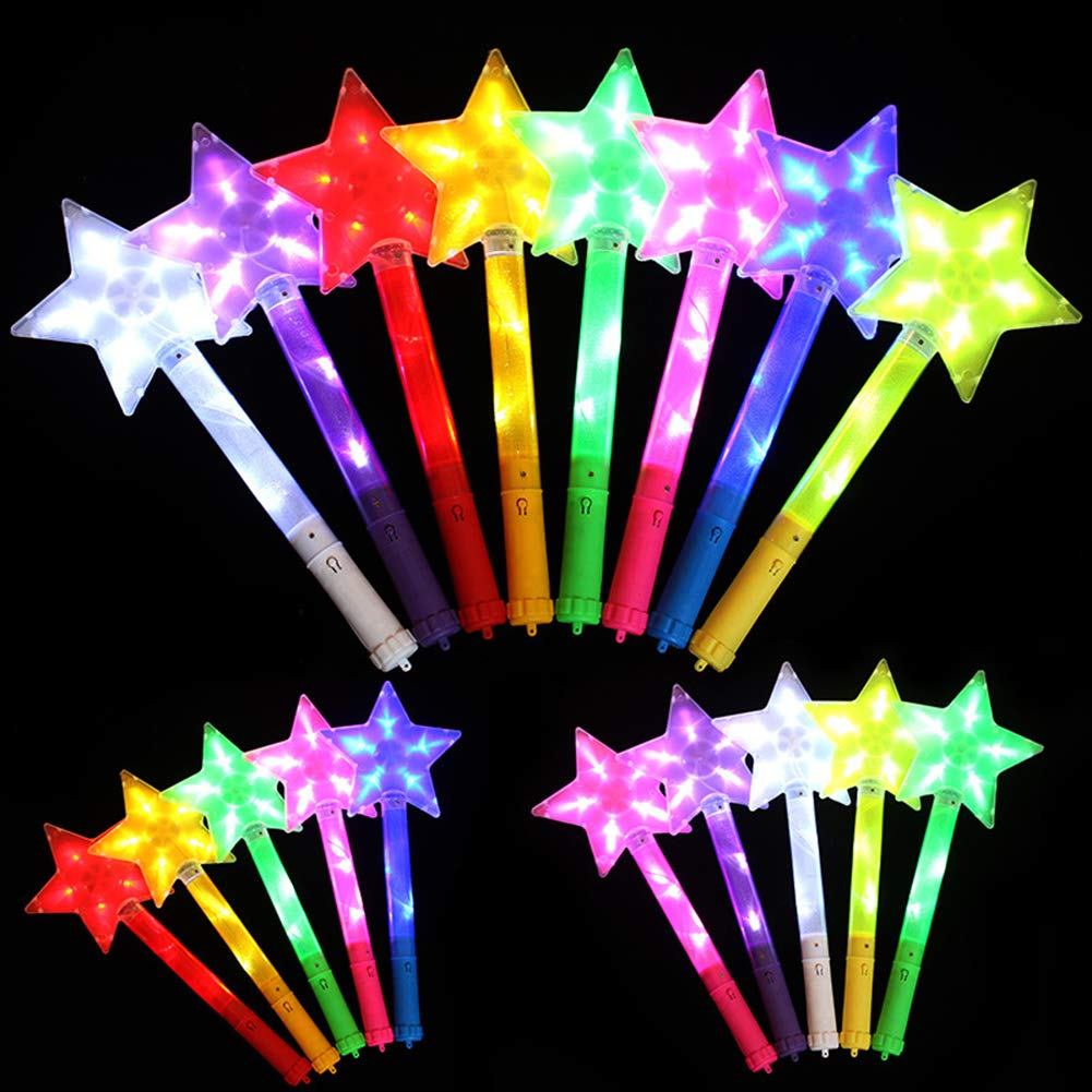 dontdo Star Shape Light Up Stick Kid Toy Concert Club Party Decorative Glowing Wands Gift