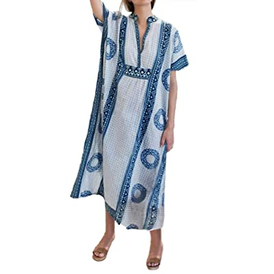 Anatoky Womens Bathing Suit Cover Up Trukish Printed Kaftan Beach Dress for Swimwear at Women's Clothing store