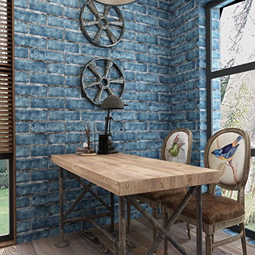Chinese Store Clothing (CWJ 3D stereo retro brick pattern red brick wallpaper Chinese restaurant clothing store background wall brick brick wallpaper,blue,a roll)