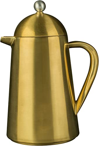 La Cafeti re Thermique Insulated 8-Cup Cafeti re French Press Coffee Maker, Brushed Gold - 1 L 1 pint