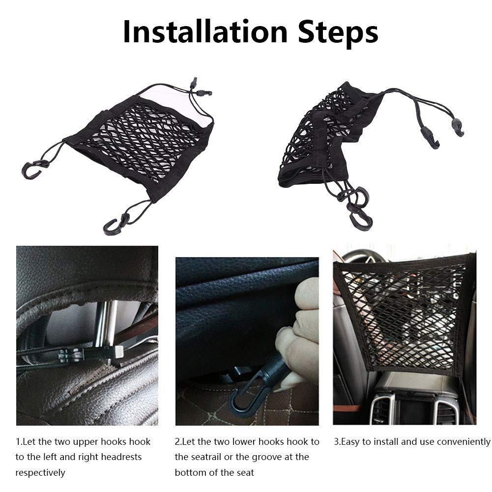 HHSP Car Seat Storage Mesh Organizer 2-Layer Car Backseat Organizer Driver Storage Net Bag Car Backseat Pets Barrier