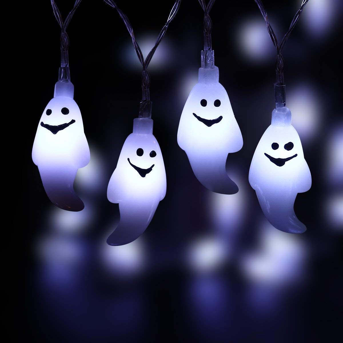 W-ShiG Halloween Ghost String Lights,30 LEDs Ghost Solar Power String Lights for Indoor Outdoor Halloween Decoration