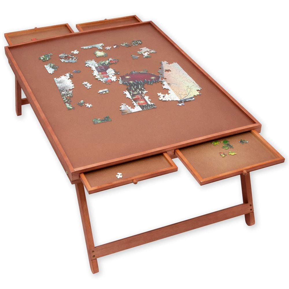 Bits and Pieces - Jumbo Puzzle Wooden Plateau Lounger with Cover-Smooth Fiberboard Work Surface - Puzzle Storage System by Bits and Pieces