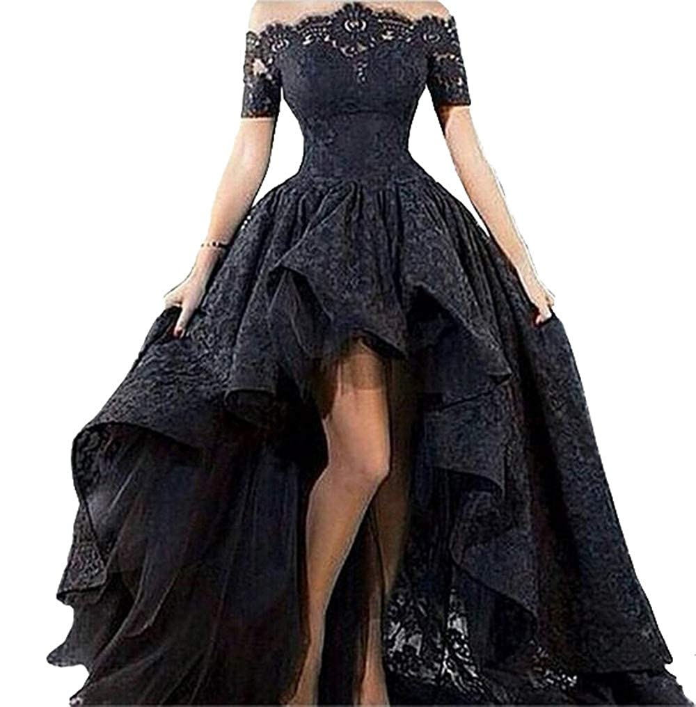 Black MariRobe Women's High Low Evening Dresses Off The Shoulder Lace Appliques Prom Dress Formal Gown