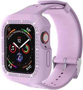Smart Watch Band with Bling Diamond case,Iwatch Protect Cover for Women/Girl/Men, Compatible Apple Watch, Soft Silicone Sport Band and TPU case 38mm 40mm for iWatch Series 6 5 SE 4 3 2 1