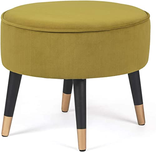 Cheap Homebeez Ottoman Foot Stool Rest Velvet Oval Vanity Stool Bench ottoman chair for sale