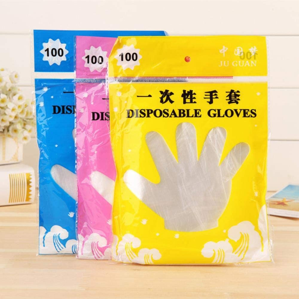 Disposable Gloves Disposable Latex Free Vinyl 100/200pcs Food Grade Plastic Disposable Gloves for Transparent Food Gloves Restaurant BBQ Kitchen Cooking Garden Accessories,1000pcs,Russian Federation