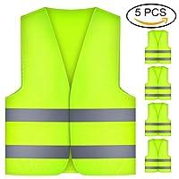 Warnwesten, Thinkcase 5 Stück Warnschutzweste mit hoher Sichtbarkeit, Polyester, Neongelb, Waschbar, Gut Sichtbar und 360 Grad Reflektierende Streifen