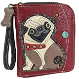 Chala Pug Zip-Around Wristlet Wallet, Pug Mom Pug Lover