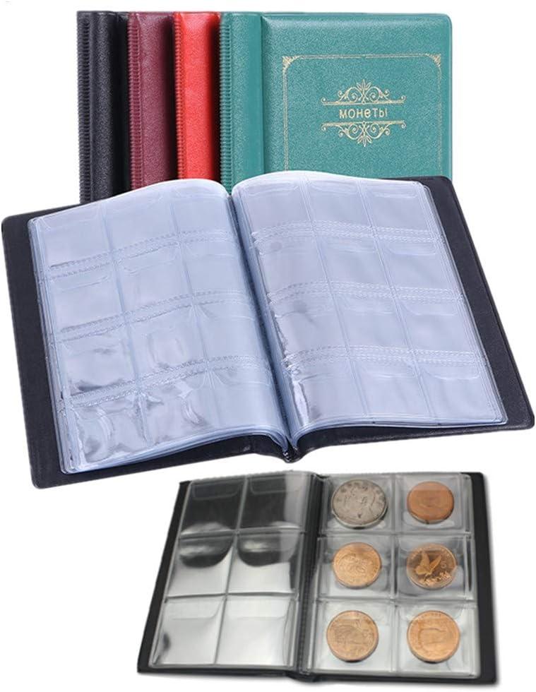 Paraphee Álbum de la colección de Monedas Porta Monedas Organizador de Almacenamiento de Monedas, Paquete de 2 Juegos, 120 Bolsillos en 30x30 mm y 60 Bolsillos en 45x45 mm: Amazon.es: Juguetes y juegos