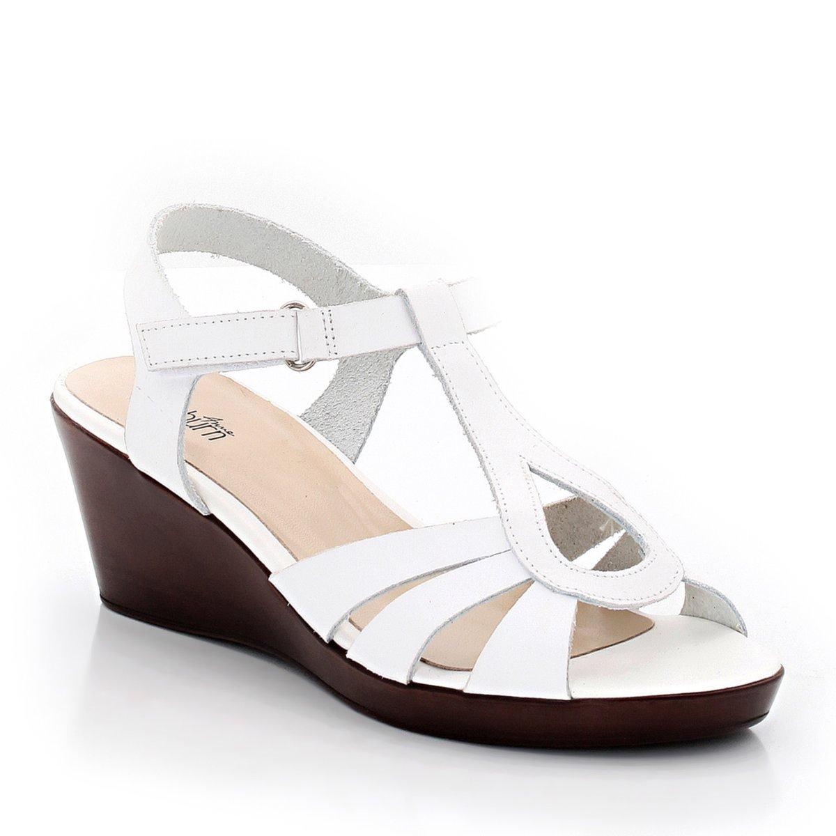 La Redoute Anne Weyburn Womens Leather Wedge Sandals With
