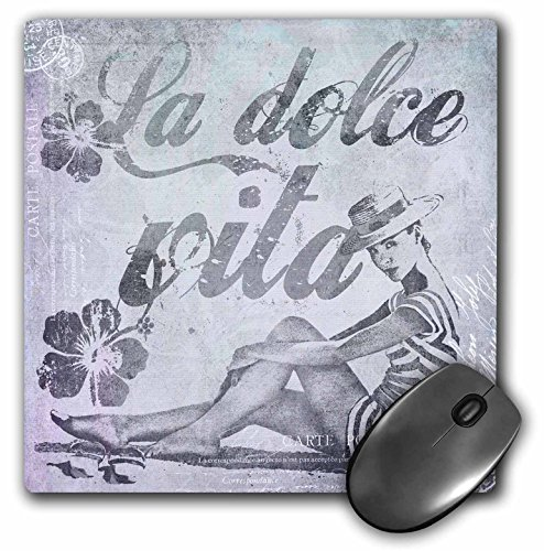 Art Illustration - Retro Woman In Swimsuit And Text La Dolce Vita In Grey - MousePad (mp_268462_1) ()