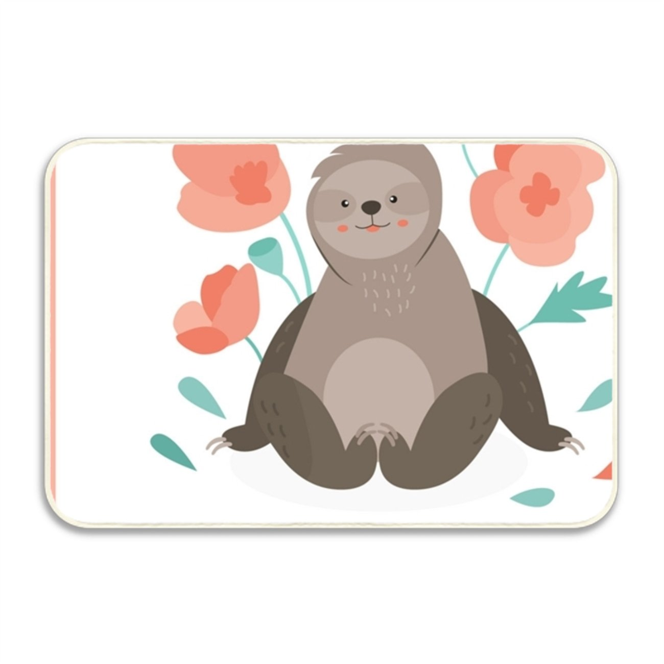 WYIOU Household Shoe Floor Mat Sloth In Pink Flowers For School Printed