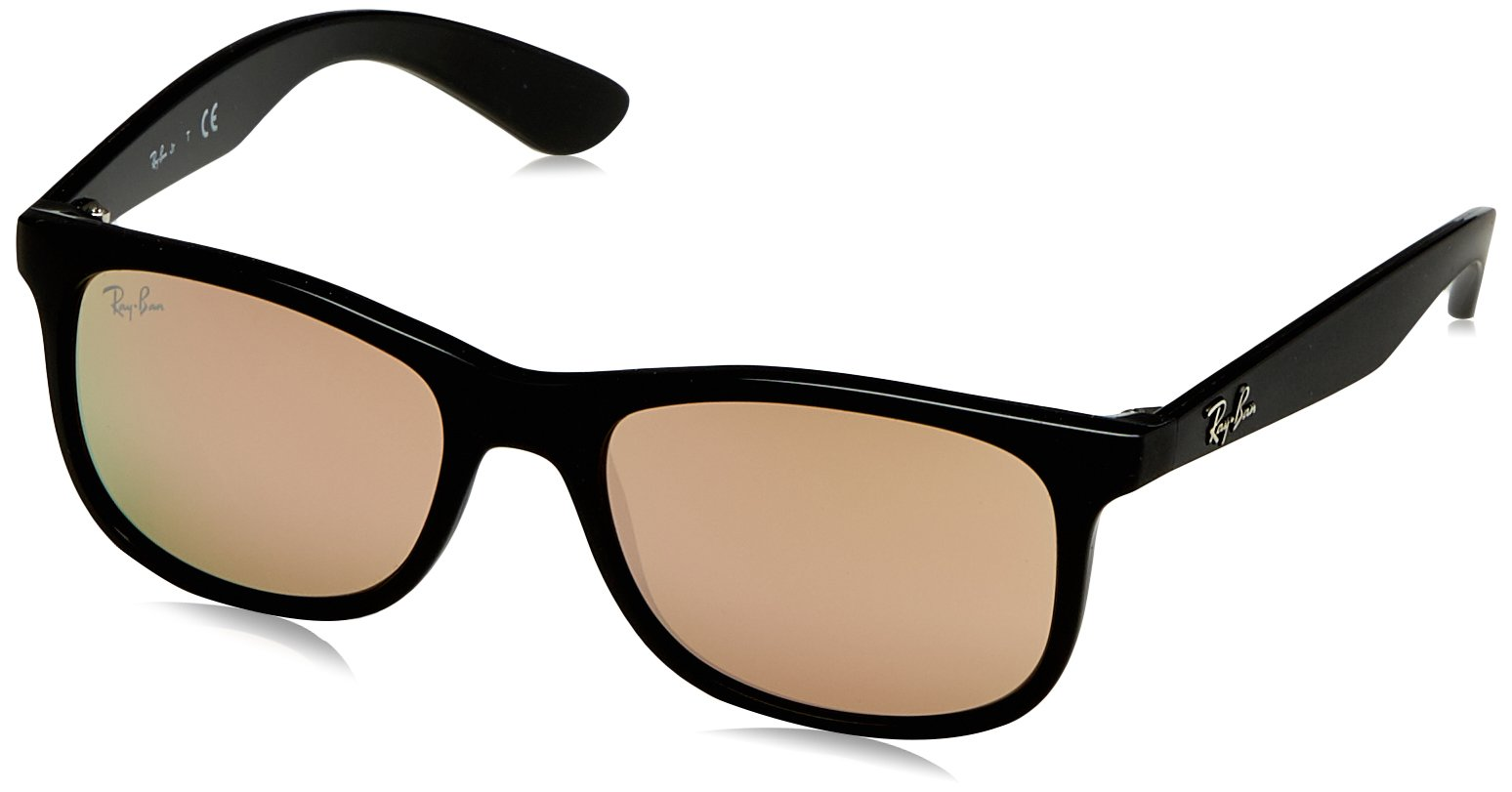 RAY-BAN JUNIOR Kids' RJ9062S Rectangular Kids Sunglasses, Matte Black On Black/Copper Mirror, 48 mm by RAY-BAN JUNIOR