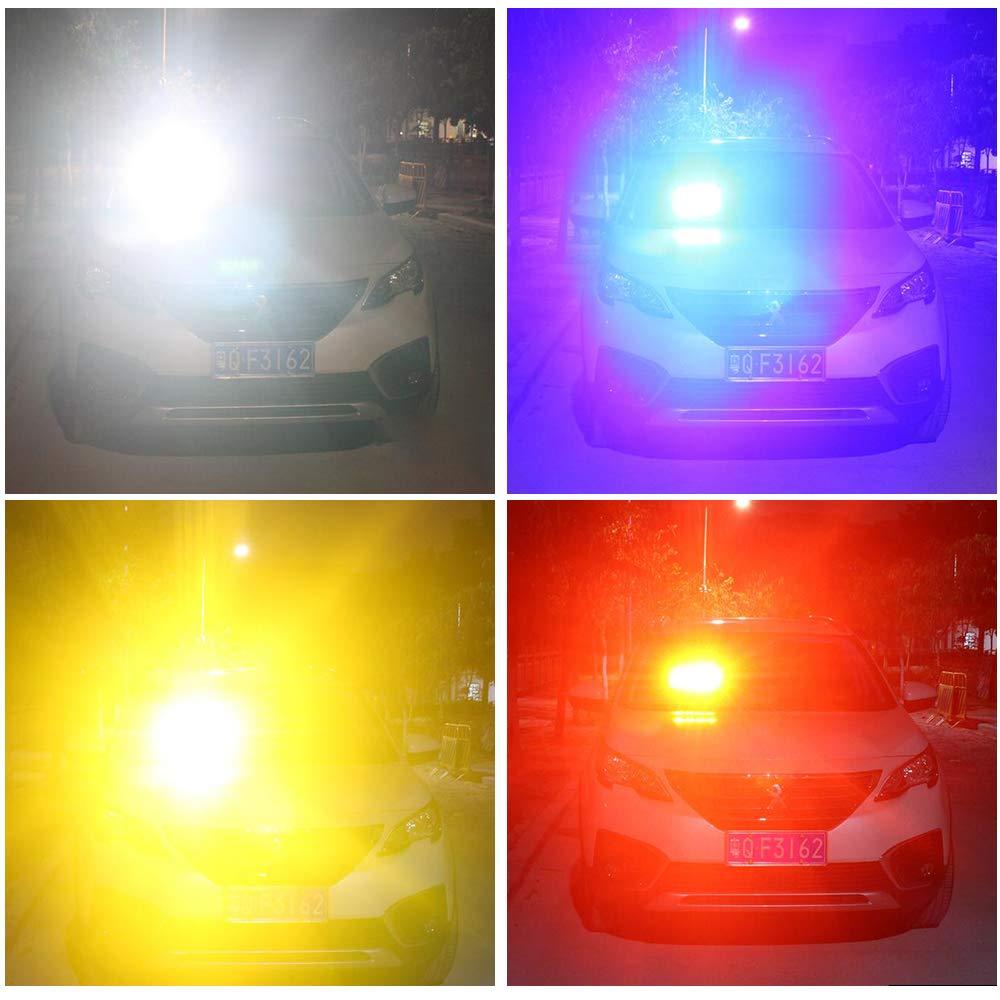 12V Rouge/&Bleu 16 LED Application de la loi Lumi/ère Avertissement Lumi/ère stroboscopique Attention Lumi/ère Durgence avec la ventouse Pour le toit//le tableau de bord//le pare-brise internes