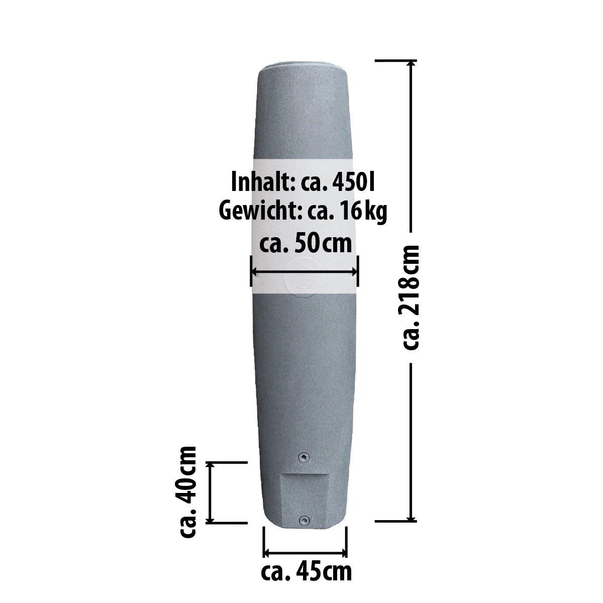 REGENTONNEN S/ÄULEN 250l // 450l // 700l KOMPAKT und PRAKTISCH mit viel Volumen auf KLEINSTER Stellfl/äche! 450L, Granit-Grau REGENSPEICHER REGENBEH/ÄLTER das schlanke REGEN-WASSER-FASS